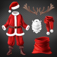 Vector Realistic Santa Claus Costume With Accessories For Fancy Dress Party, Isolated On Background. Traditional Clothes For Christmas Masquerade, Red Bag, Coat And Pants, White Fur Beard, Deer Horns