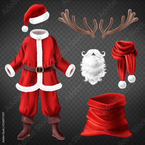 Vector realistic Santa Claus costume with accessories for fancy dress party, isolated on background Tapéta, Fotótapéta