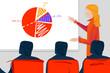 Ilustracja prezentacji, spotkania biznesowego. Sala wykładowa z wykładowcą i uczestnikami szkolenia.
