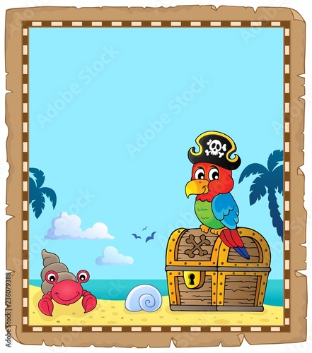 Parchment with pirate parrot theme 1
