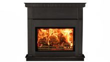 Burning Black Fireplace Isolated On White Background