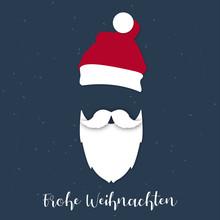 Weihnachtsmann Weißer Bart - Frohe Weihnachten