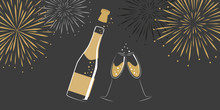 Champagne Bottle And Glasses With New Year Fireworks Vector Illustration EPS10