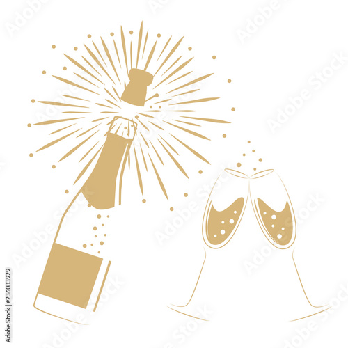 Fényképezés opened bottle of champagne and glasses for party and celebration vector illustra