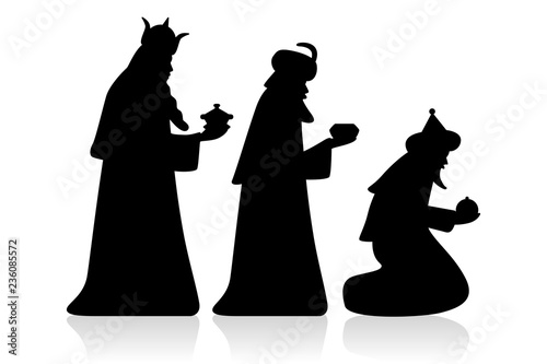 Holy three kings / silhouette, black, vector, isolated Canvas Print