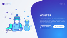 Winter Concept: Man In Knitted Hat With Skates And Snowman. Modern Vector Illustration, Web Page Template On Gradient Background.