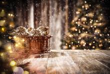 Christmas Balls On Table And S...