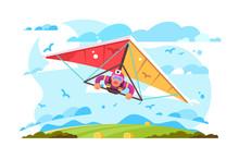 Cartoon Man Flying On Hang Glider Poster
