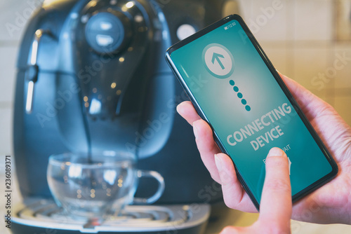 Photo Connecting coffee machine with smart phone