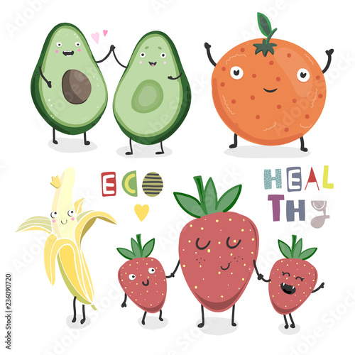 Hand drawn healthy fruits and berries. Colored vector set. Everything is isolated