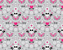 Mexican Folk Art Vector Seamless Pattern With Skulls, Flowers And Abstract Shapes, Pink, White And Gray Textile Design Inspired By Traditional Art Form Mexico
