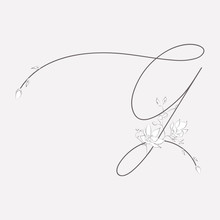 Vector Hand Drawn Floral G Monogram And Logo