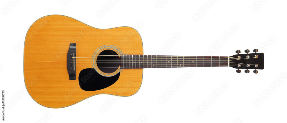 Fototapeta Musical instrument - Front view classic vintage acoustic guitar. Isolated