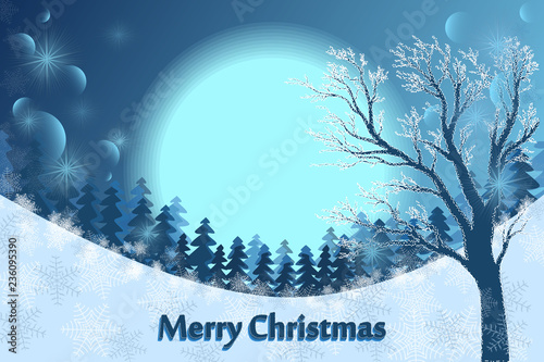 Fotobehang Lichtblauw Christmas card. Winter landscape - a tree in the snow, a forest and a big moon. Merry Christmas. Vector.