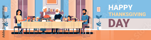 Canvas Print happy thanksgiving day multi generation family sitting table celebrating thanks