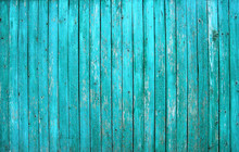 Turquoise Barn Wooden Board Wall. Old Blue Planking Texture. Painted Grunge Hardwood Background Surface