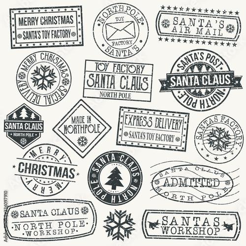 Santa Claus North Pole Quality Original Stamp Design Vector Art Round Seal Fototapeta
