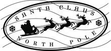 North Pole Santa Claus Stamp Design Vector Art Round Seal Christmass
