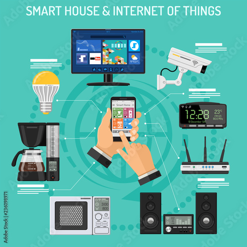 Valokuvatapetti Smart House and internet of things