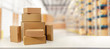 canvas print picture - cardboard boxes in warehouse ready for transportation and delivery. copy space