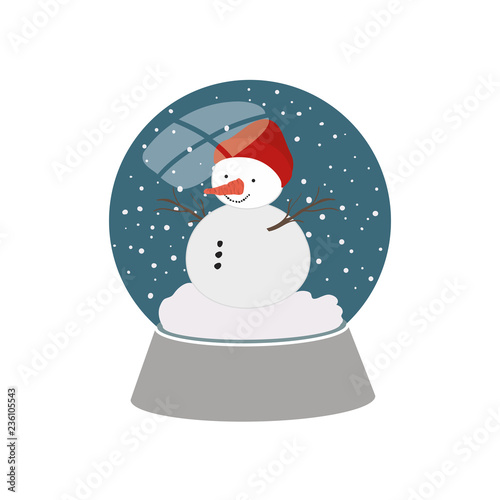 snow man in crystal ball isolated icon Wallpaper Mural