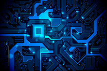 High Tech Electronic Circuit Board Vector Background.