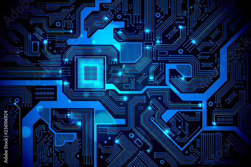 Foto  High tech electronic circuit board vector background.
