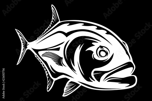 Fotografía  Fishing emblem of  permit isolated on white