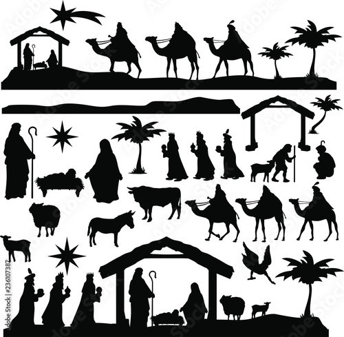Fotografering Christmas Scene Nativity Silhouette Clip Art Design Scrapbook