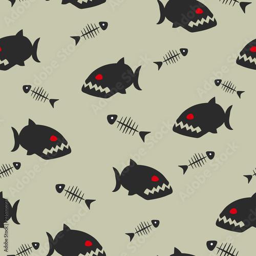 Fotografia, Obraz  Seamless vector piranha pattern with fish bones.