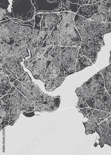 City map Istanbul, monochrome detailed plan, vector illustration Canvas Print