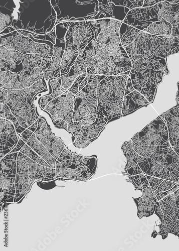 Obraz na plátně City map Istanbul, monochrome detailed plan, vector illustration