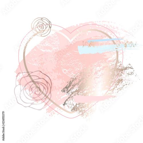 Golden Heart Pink Blank Nude Art Frames Modern Card Design