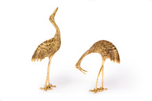 Vintage Metal Bird Figurines On White Background