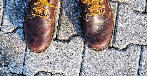 Fotografie, Obraz  First person view of shoes