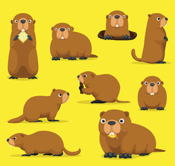 Groundhog Chuck Woodchuck Groundpig Whistlepig Cute Cartoon Vector Illustration