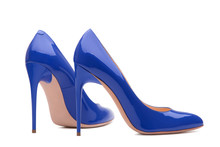 A Pair Of Beautiful Blue Shoes With High Heels. Blue High-heeled Shoes. A Pair Of Patent Leather Shoes.