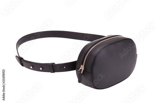 Fotografía  Black leather belt bag