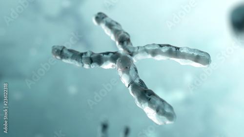 Fotografía  Chromosome under microscope. Genetic concept background