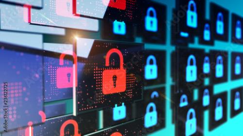 Fotografija Smart security database technology - Unlocked security padlock
