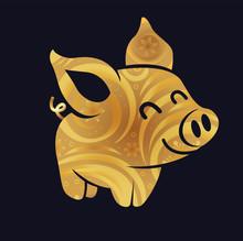 Golden Pig Silhouette Little