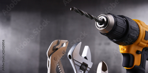 Stampa su Tela  hardware tools including cordless drill and monkey spanner