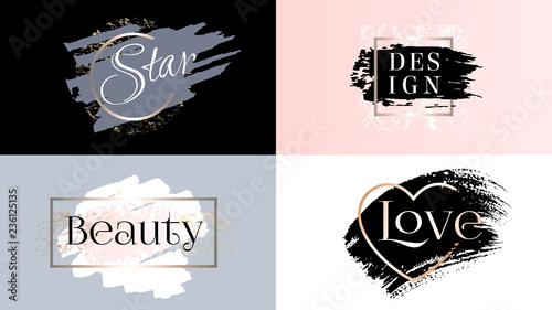 Beauty fashion frames icons logo set Canvas Print