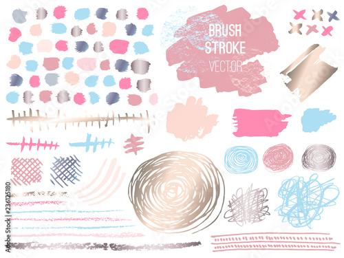 Set stroke spot golden pink blog. Brush, pen, marker, chalk, brush stroke, lines, points, gold. Vector distressed grunge modern textured brush stroke. Dry brush. Beauty identity elegant style. Hand