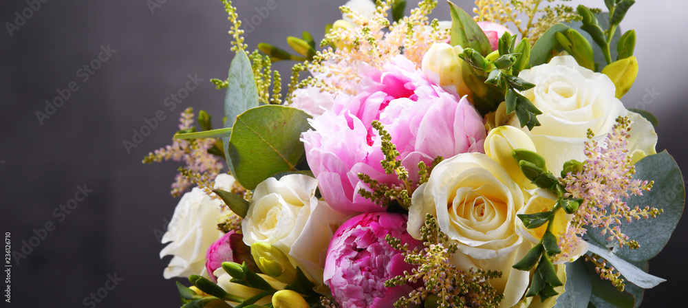 Fototapeta Composition with bouquet of freshly cut flowers
