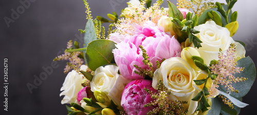 plakat Composition with bouquet of freshly cut flowers