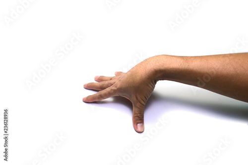 Fotografia, Obraz  right hand doing palm span  on white background isolated