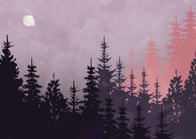 Winter Forest Background, Vector Mountain Landscape. Christmas Tree Firs With Full Moon And Pink Sky.  Watercolor Painting Style. Vector Illustration