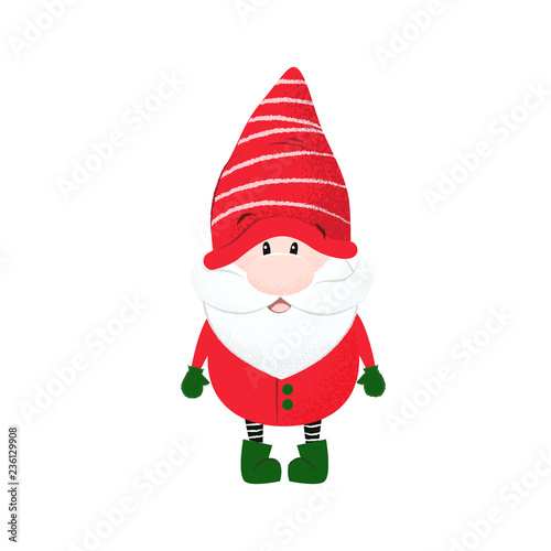 a0de830b96e Cute dwarf in stripped hat and red costume. Character