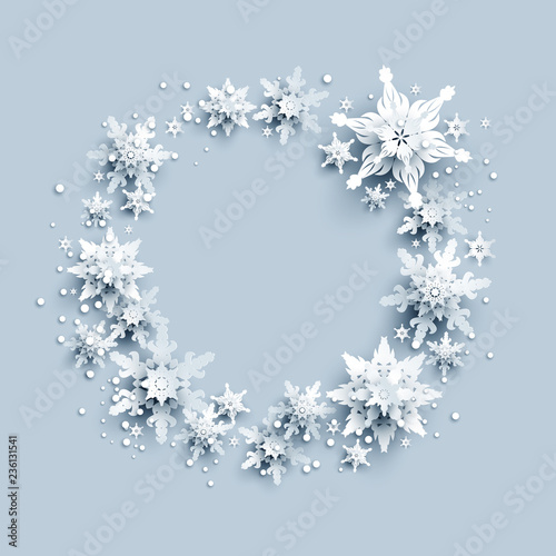 Fotobehang - Winter holiday realistic paper cut wreath from snowflakes. Snow christmas decoration for design banner, ticket, invitation, greetings, leaflet and so on.